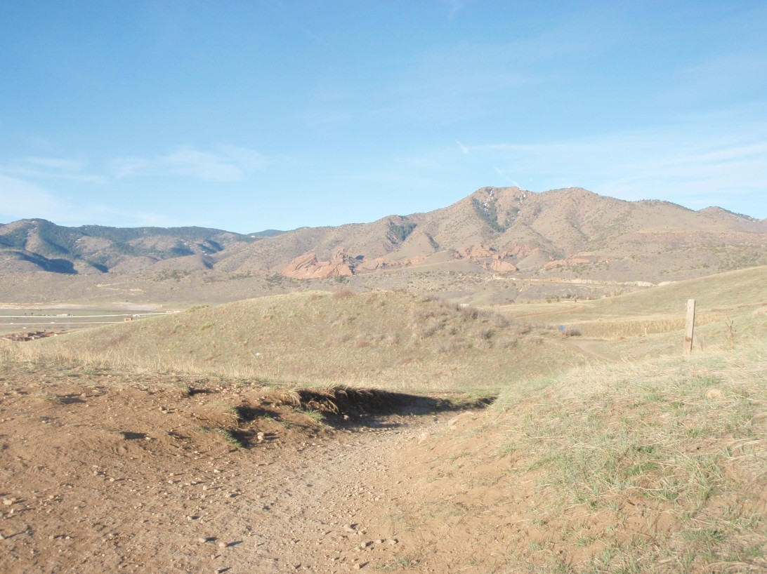 View of Red Rocks from the trail.